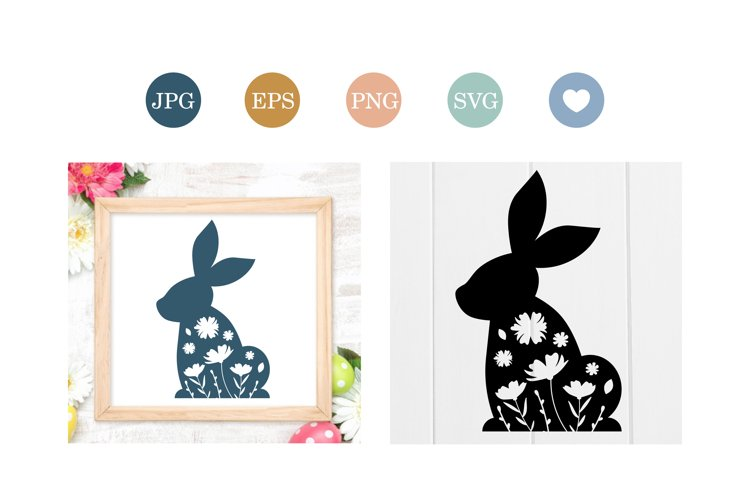 Easter Bunny silhouette with flowers, cut file example image 1