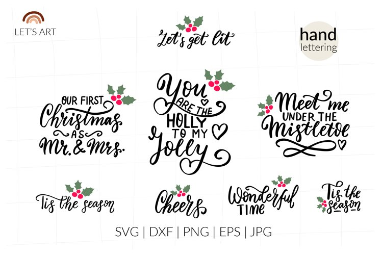Romantic Christmas wishes svg. Mistletoe, Mr and Mrs svg example image 1