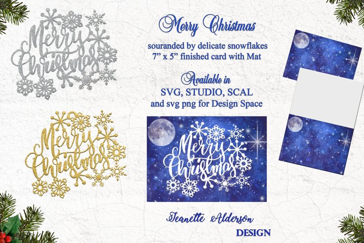7x5 Christmas card with a greeting surrounded by snowflakes example image 1