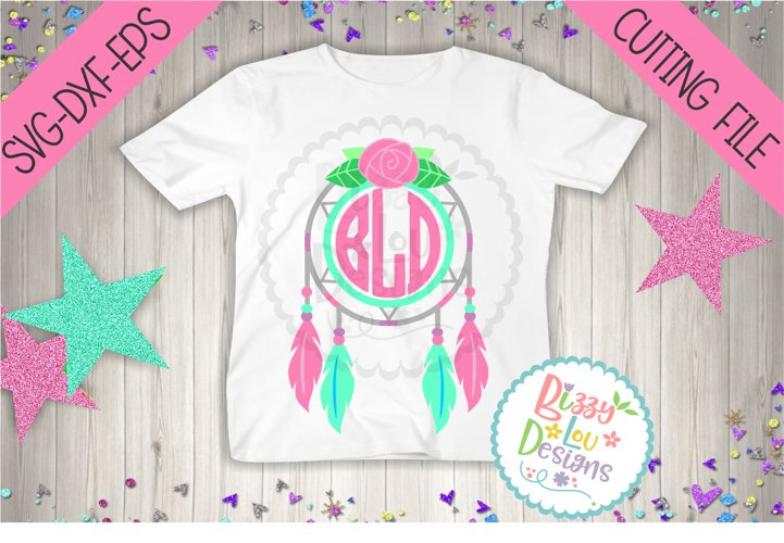 Dreamcatcher Monogram SVG DXF EPS cutting files example image 1