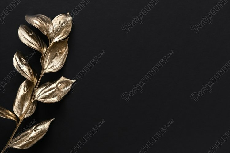 Golden painted leafs on black background. Minimal concept.