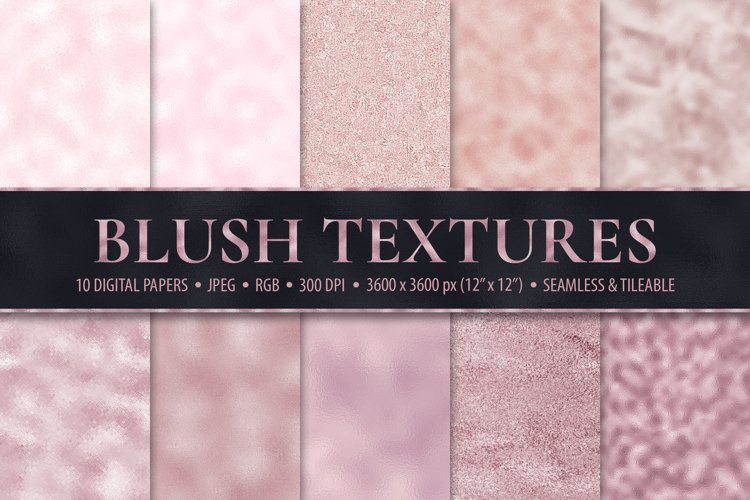 Blush Digital Papers - 10 Seamless Pink Foil Textures