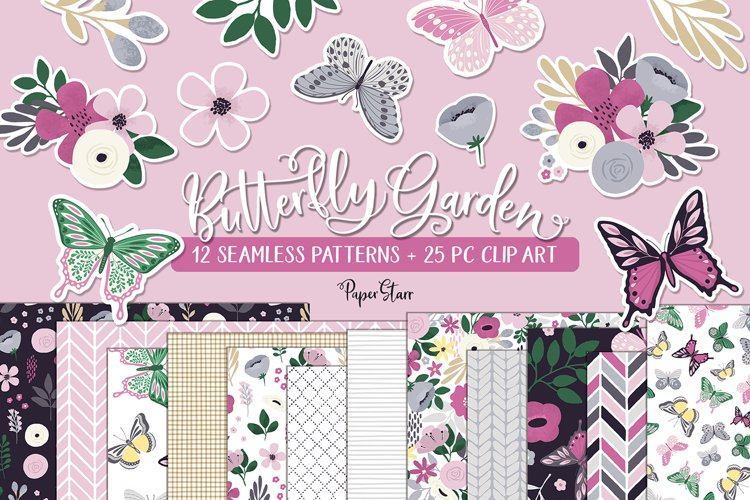 Butterfly Spring Floral Digital Paper Clipart Bundle