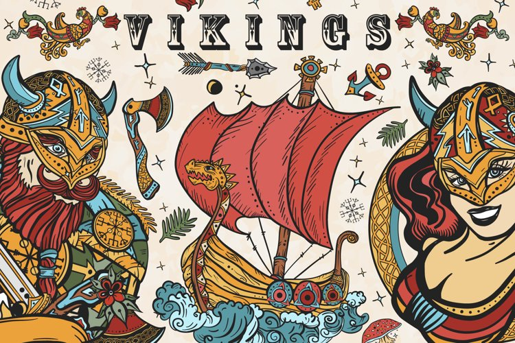 Vikings old school tattoo example image 1