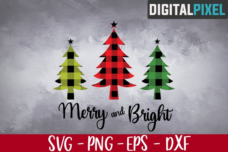 Merry and Bright Svg, Christmas Tree Svg, Buffalo Plaid Tree