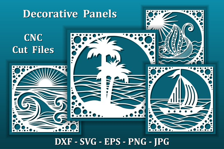 Sea View Panels, CNC cut files. Wall art for Home design