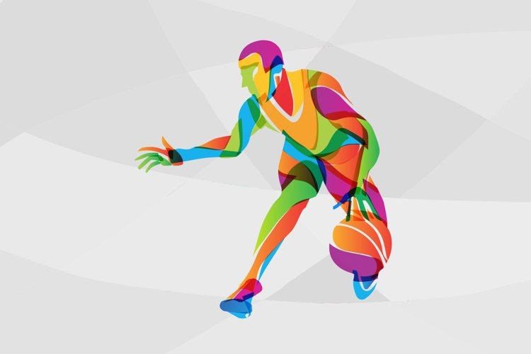 Basketball player abstract multicolored vector image clipart