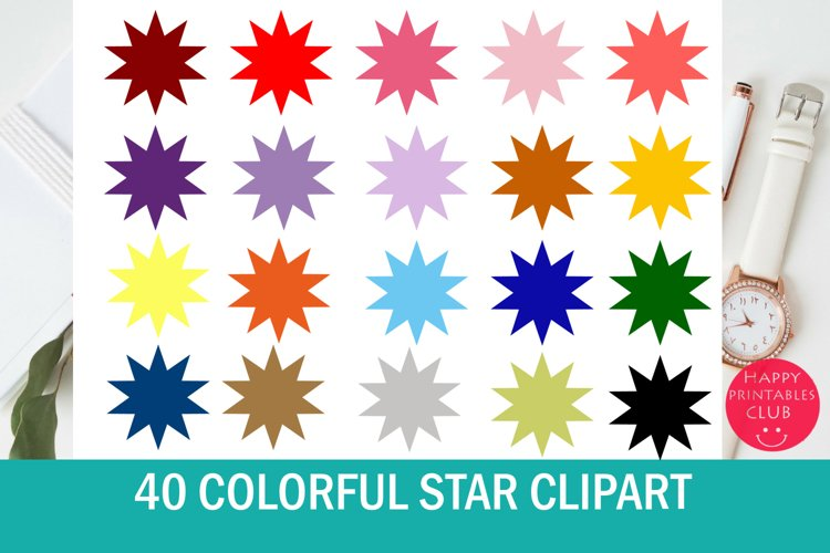 40 Colorful Star Clipart Set example image 1