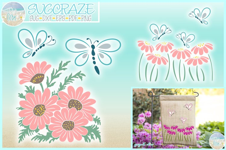 Butterflies And Daisies Svg Dxf Eps Png Pdf example image 1