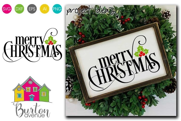 Merry Christmas with Holly Berry SVG| Christmas SVG File example image 1