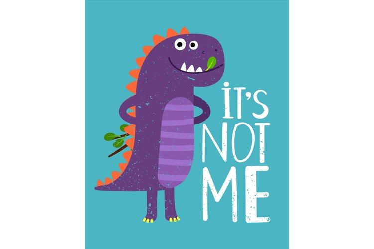 Childish card with print dinosaur. Vector illustration