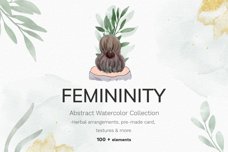 Watercolor abstract women collection example image 1