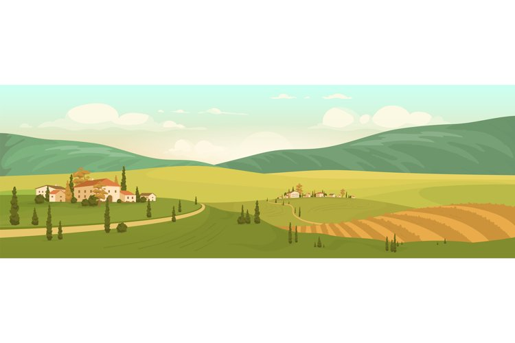 Autumn natural scenery flat color vector illustration example image 1