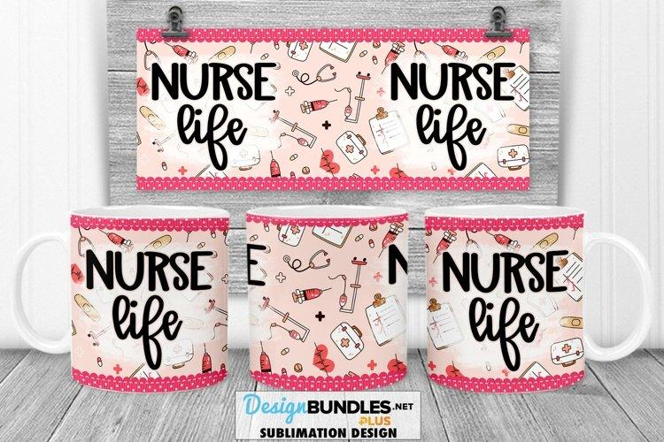Pink Nurse Life Mug Wrap PNG Sublimation | Mug Wrap PNG example image 1
