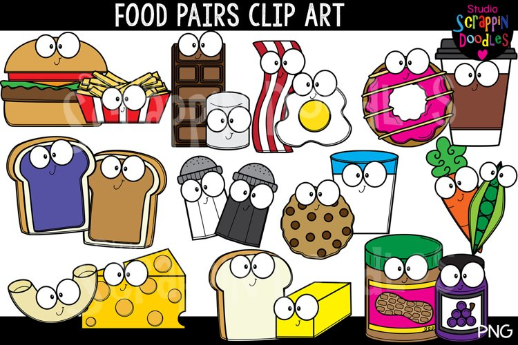 Food Pairs Clip Art - Cute Food Graphics