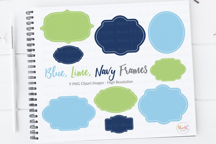 Frames Clipart Set, Clip Art Set of Digital Frames, Labels, Tags, Green, Navy, Instant download