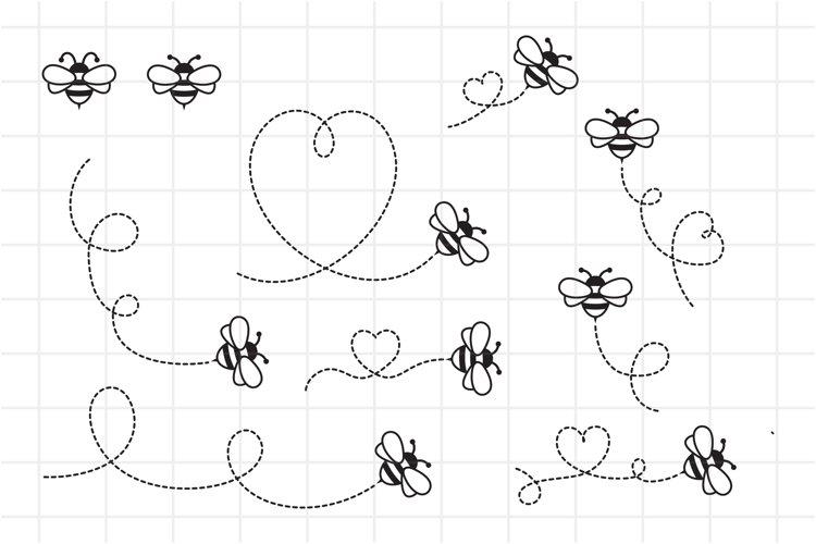Bee SVG, Flying Bee SVG Cut File, Heart Honey Bee in Flight