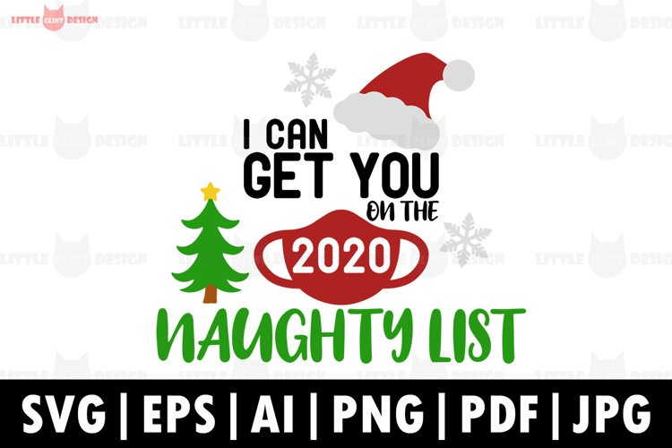 2020, Christmas SVG, Naughty List SVG, Winter, Santa example image 1