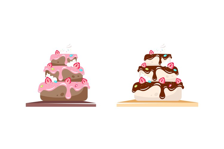 Cake flat color vector objects set