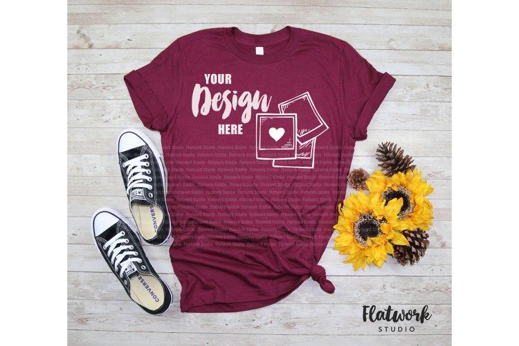Fall Mockup | Bella Canvas 3001 T-shirt | Maroon example image 1