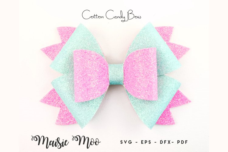 Bow SVG, Cotton Candy Bow Template, Hair Bow SVG, Pinwheel