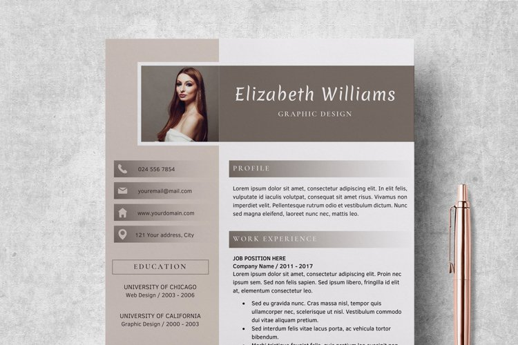 Resume Template   CV Cover Letter - Elizabeth Williams example image 1