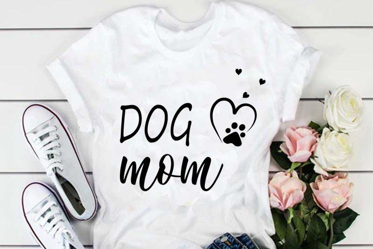 Dog mom cut file, dog mama svg, dog paw print svg, dog lover example image 1