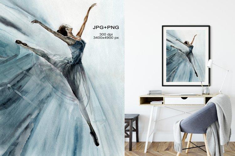 Ballerina watercolor illustration. Ballet sublimation design example image 1