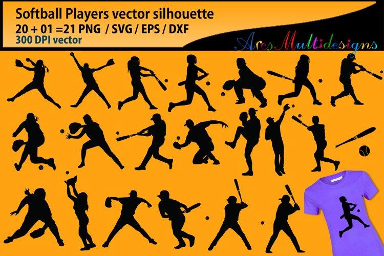 Softball svg silhouette / softball players Svg / bundle example image 1