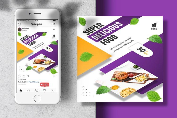 Isometric food menu instagram feed banner template