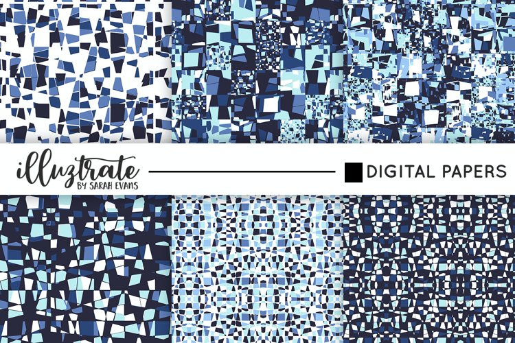 Painted Geo Seamless Patterns   Blue Vector Patterns example image 1