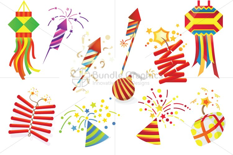 Celebration Decorative Fireworks - Vector Graphic Design Elements Set example image 1