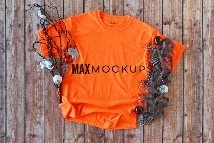 Orange shirt mock up, Halloween decorations, ghost skeletons