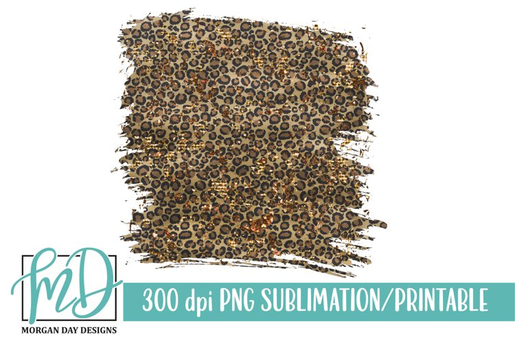 Leopard Glitter Background Printable Sublimation PNG example image 1
