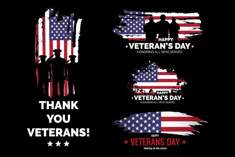 Veteran's day 4 vector banners. with USA flag example image 1