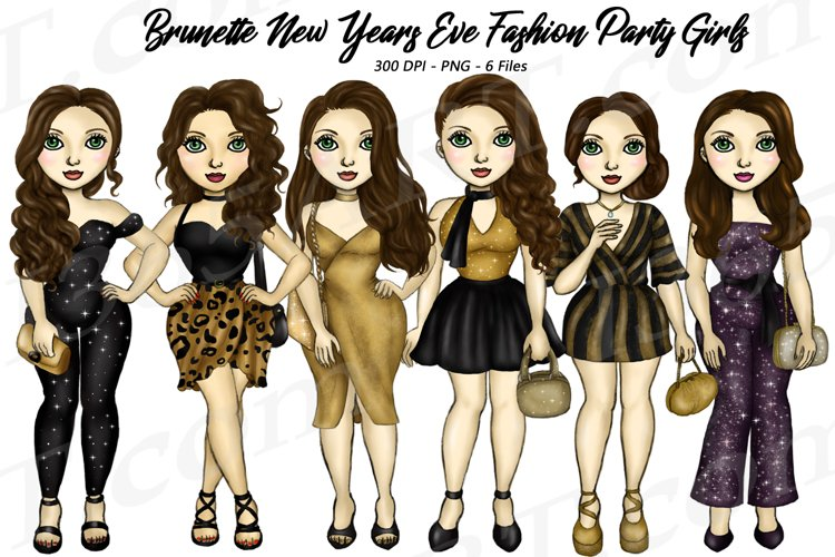 New Years Eve Party Brunette Hair Girls Fashion Clipart PNG
