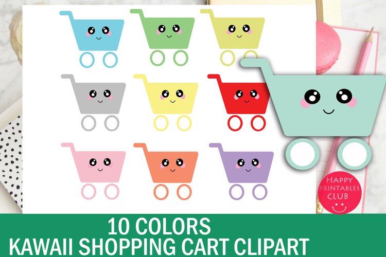 10 Colors Cute Kawaii Shopping Cart Clipart
