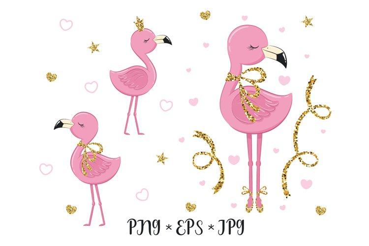 Cute flamingo cliparts, PNG, EPS, JPG, 300 DPI example image 1