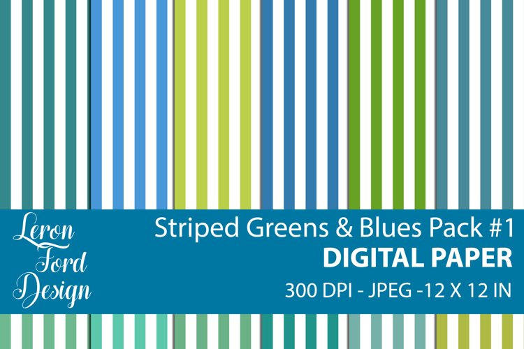 Striped Blues & Greens Pack #1 Digital Paper example image 1