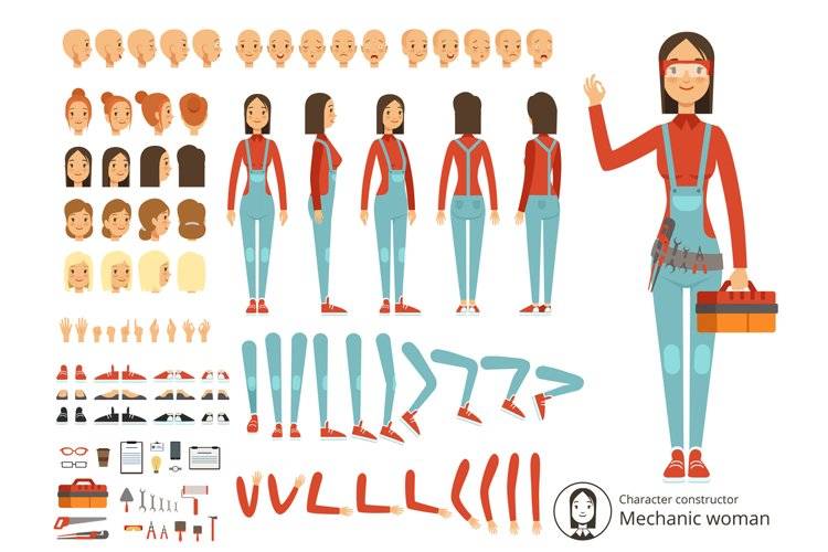 Big creation kit of girl mechanic in working clothes. Vector example image 1