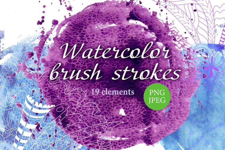 Watercolor round brush strokes