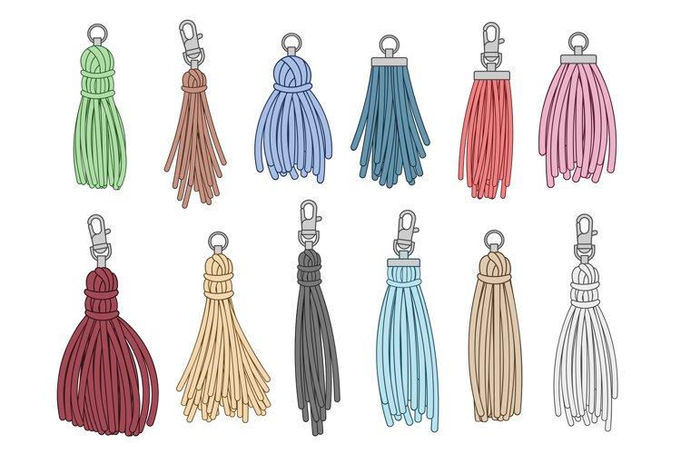 Tassels accessories. Leather fringe tassel trinket, handbag example image 1