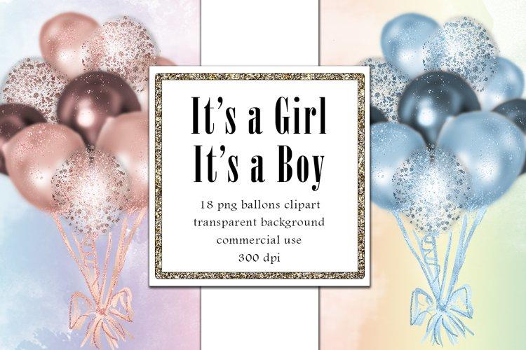 Pastel Balloons Clip Art Set, Baby Shower Cliparts, Glitter
