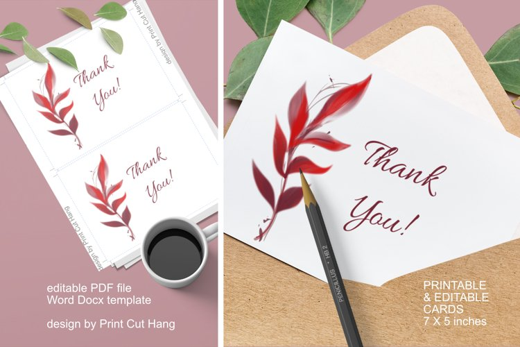 Fall Red Watercolor Foliage Thank You Cards Templates