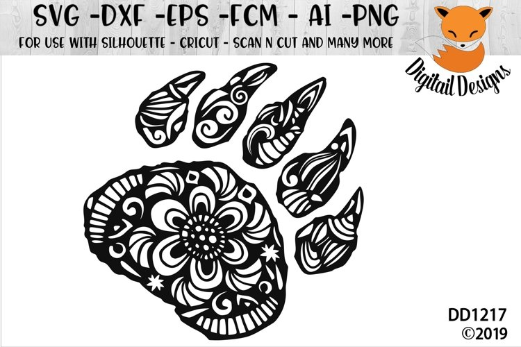 Zentangle Bear Claw SVG example image 1