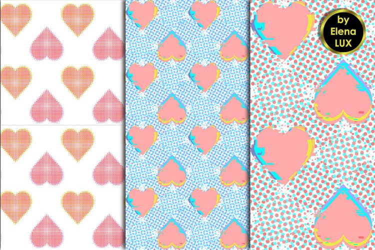 Glitch and halftone hearts seamless patterns