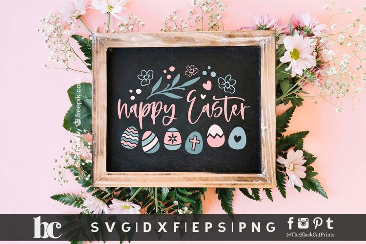 Happy Easter SVG | Happy Easter Sign SVG | Easter Eggs SVG