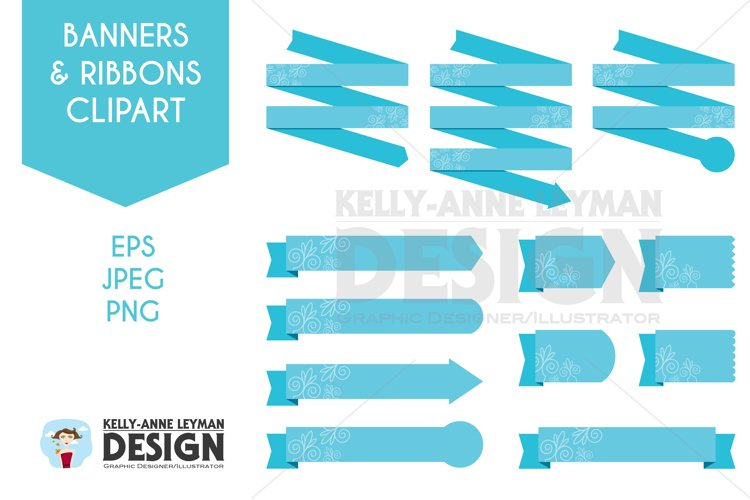 Digital Ribbon Clipart, Digital Banner set, Design Elements