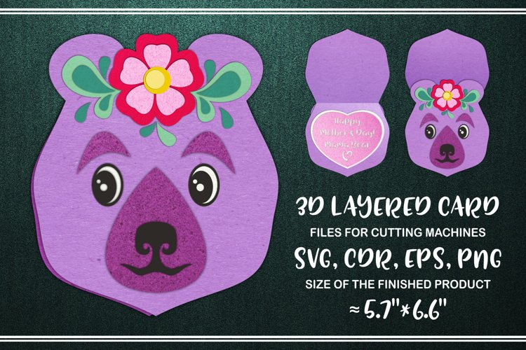 Mama Bear 3D Layered Mothers Day Card Svg