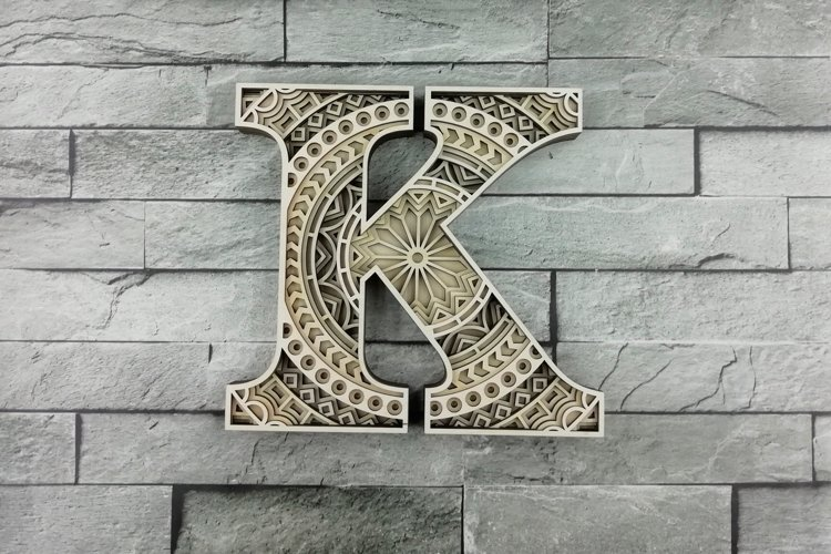 Layered Letter K, Layered letters SVG, Multilayer Letters
